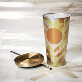 Стакан с трубочкой Starbucks Cold Cup Tumbler - Gold Chevron